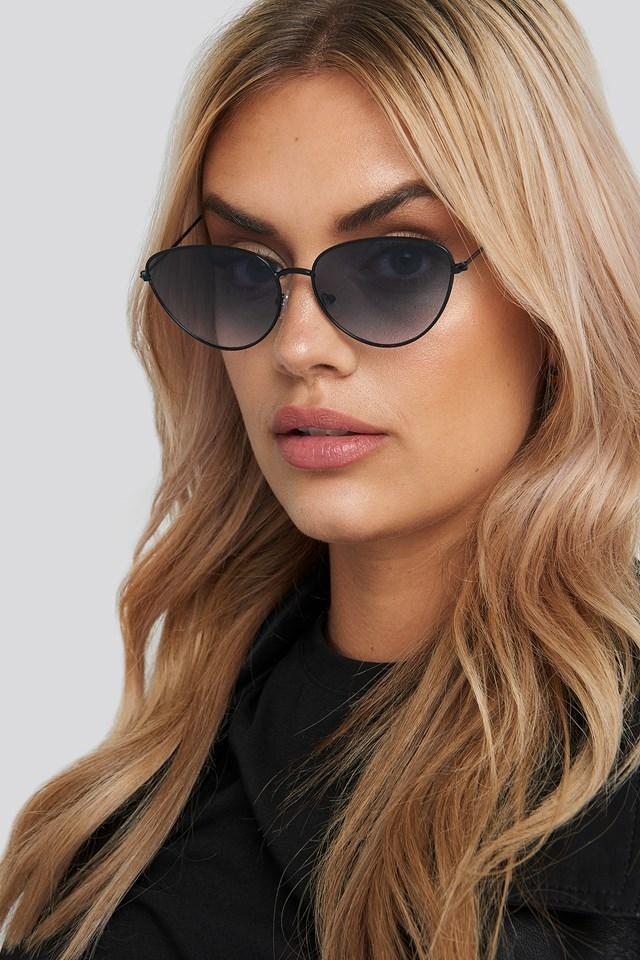 Drop Shape Metal Frame Sunglasses Black