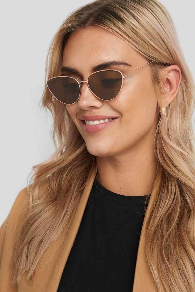 Drop Shape Metal Frame Sunglasses Gold/Brown