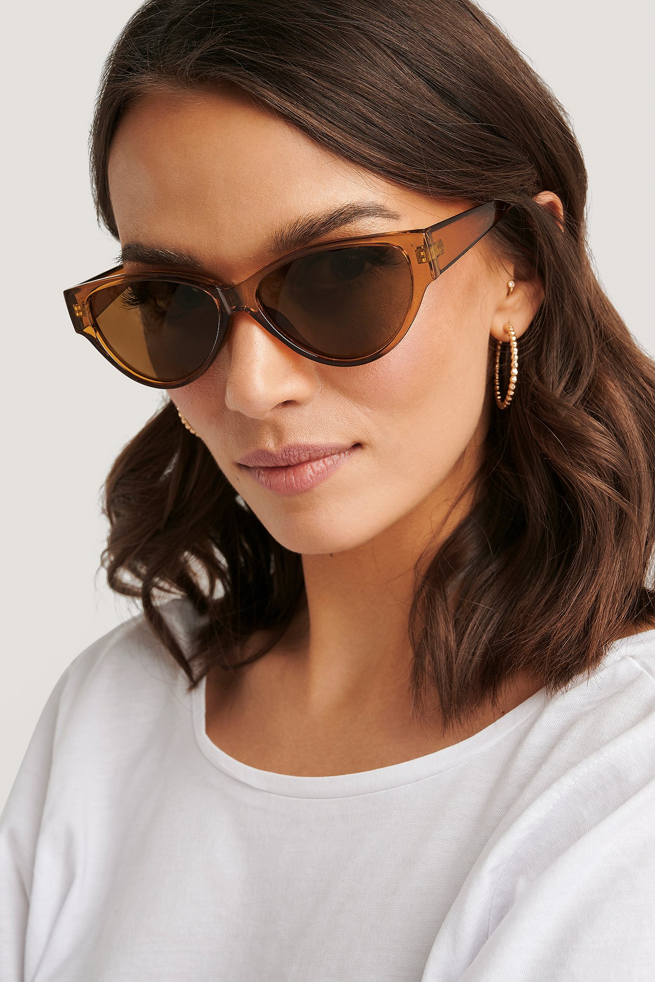 na-kd accessories -  Drop Shaped Cateye Sunglasses - Brown