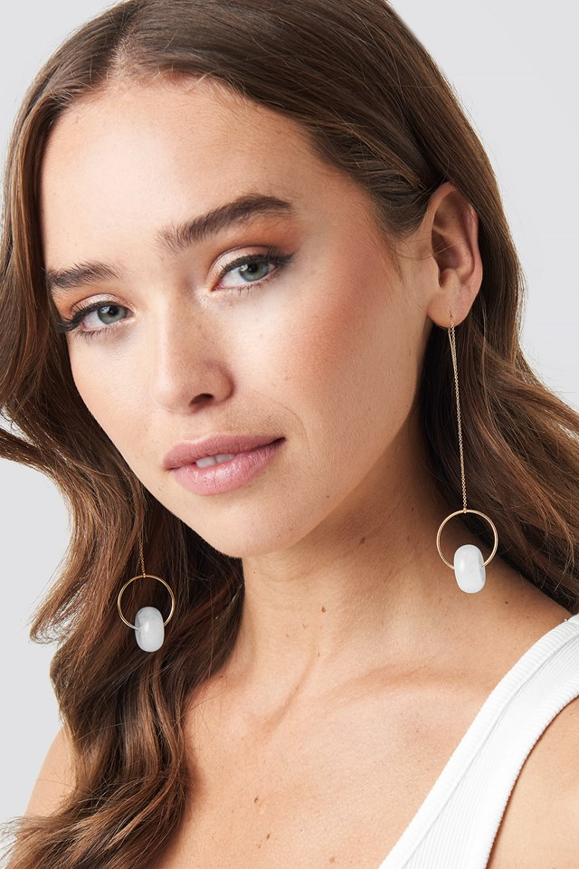 Drop String Stone Earrings NA-KD Accessories