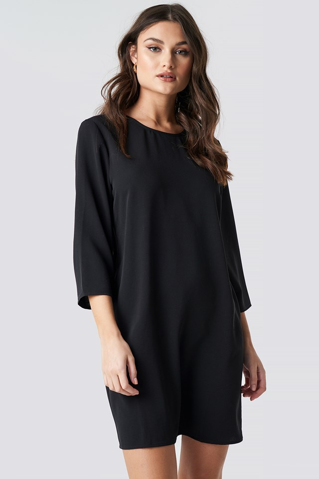 Drop Waist Mini Dress Black