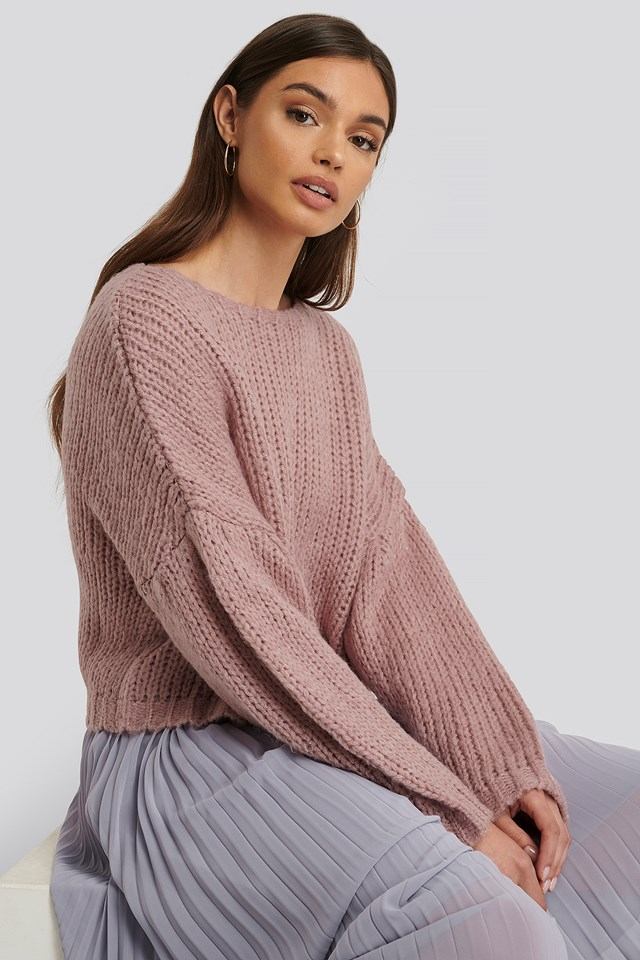 Dropped Balloon Sleeve Knitted Sweater Pink