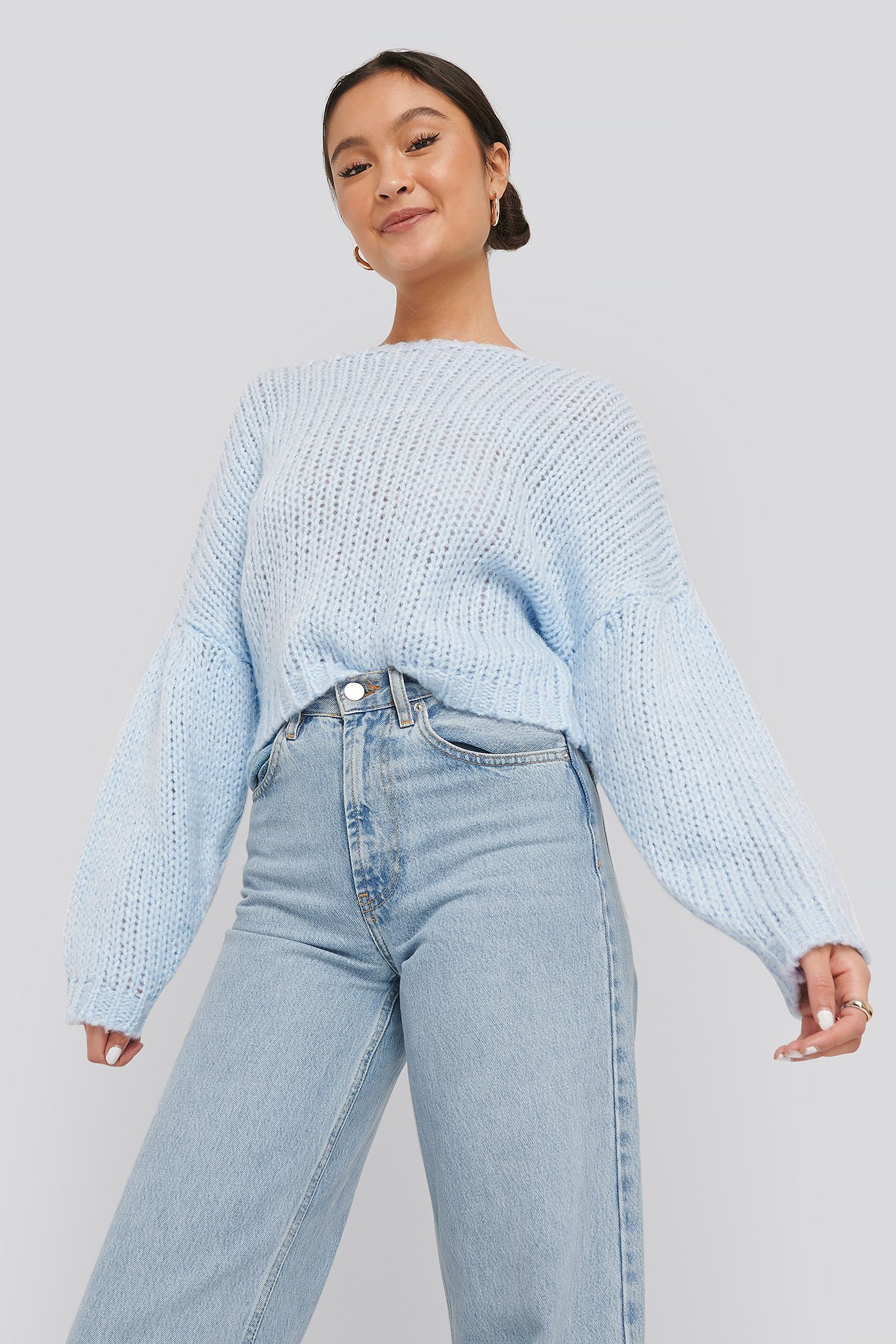 na-kd -  Dropped Balloon Sleeve Knitted Sweater - Blue
