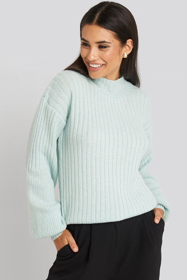 Dropped Big Sleeve Sweater Mint