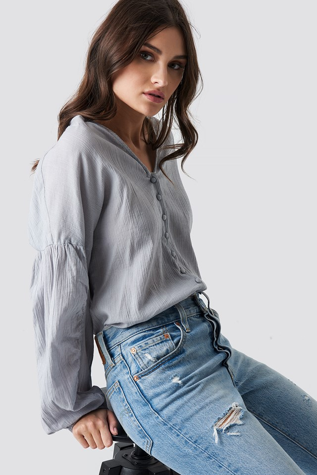 Dropped Shoulder Balloon Sleeve Blouse Blue Grey