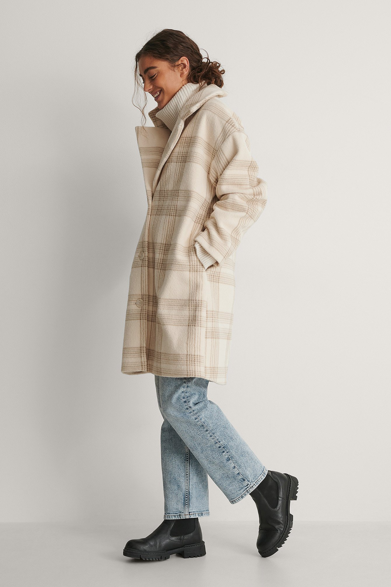 Light Beige Dropped Shoulder Checked Coat