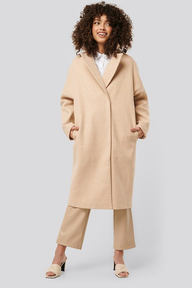Dropped Shoulder Coat Beige