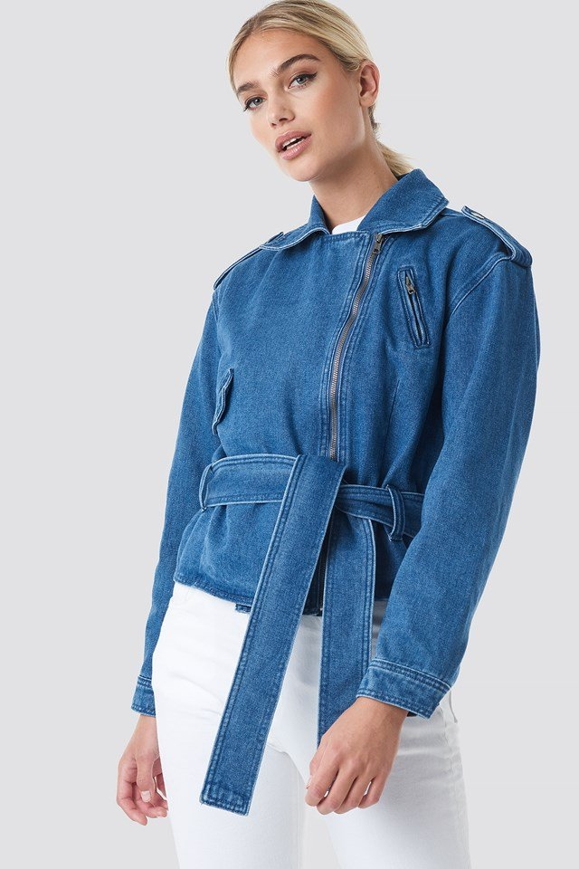 Dropped Shoulder Denim Biker Jacket Mid Blue