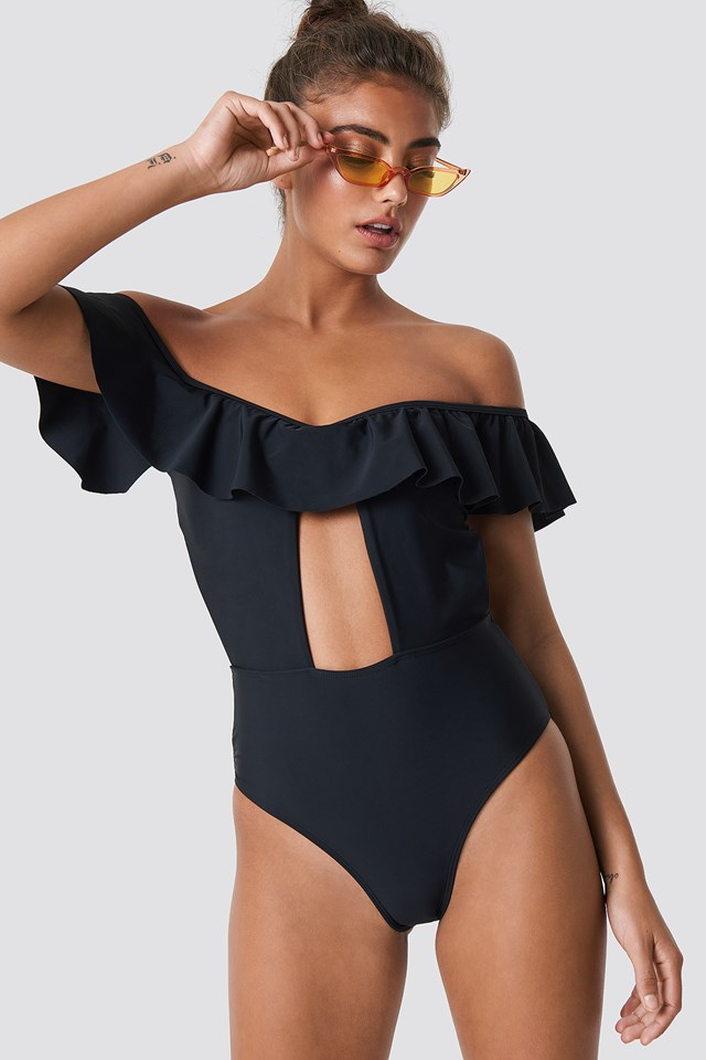 Dropped Shoulder Frill Swimsuit Black