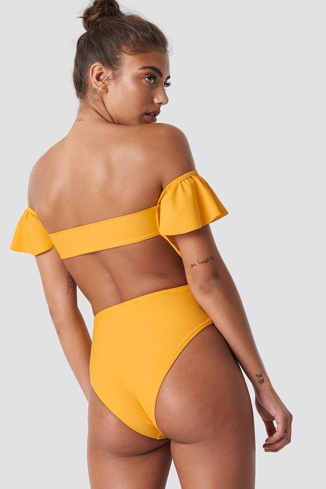 Dropped Shoulder Frill Swimsuit Citrus