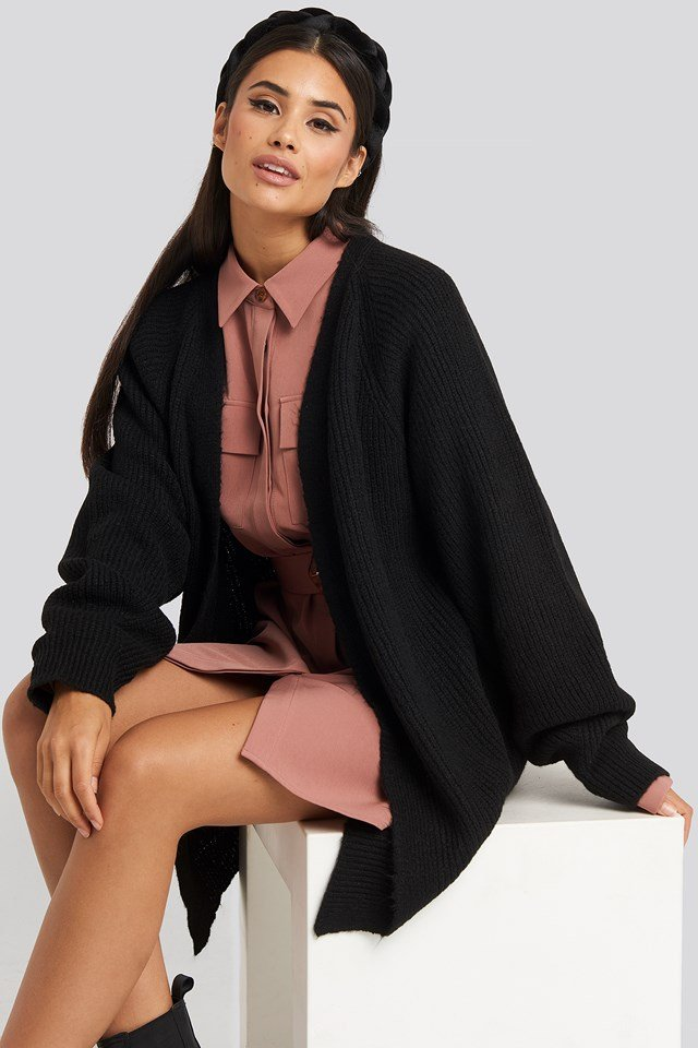 Dropped Shoulder Knitted Cardigan Black