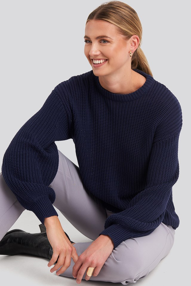 Dropped Shoulder Knitted Sweater Dark Navy