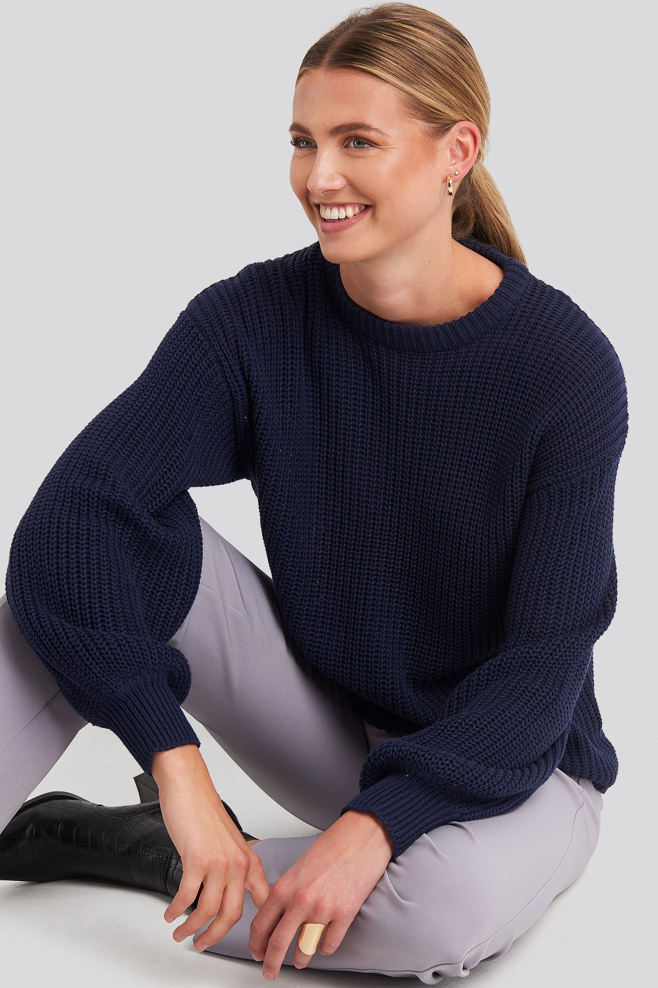 Dark Navy Dropped Shoulder Knitted Sweater