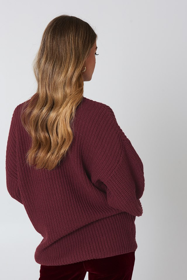 Dropped Shoulder Knitted Sweater Wine Red