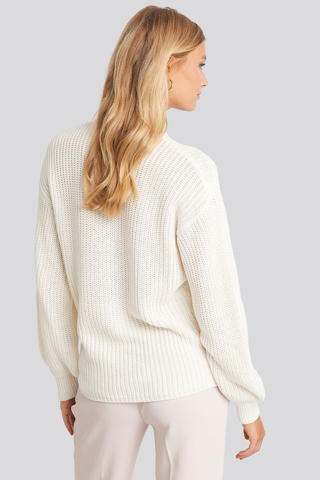 Dropped Shoulder Knitted Sweater Offwhite