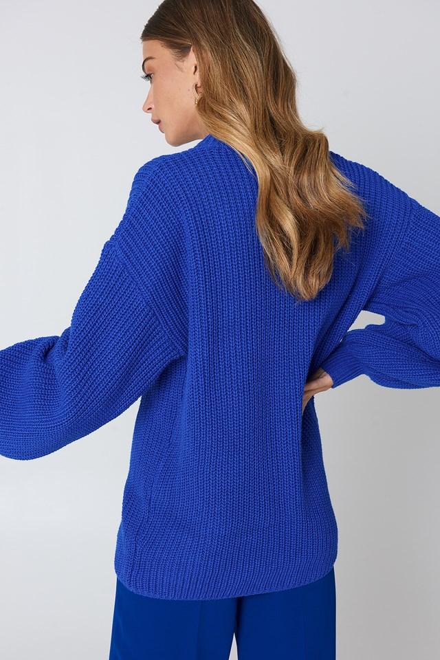 Dropped Shoulder Knitted Sweater Cobolt