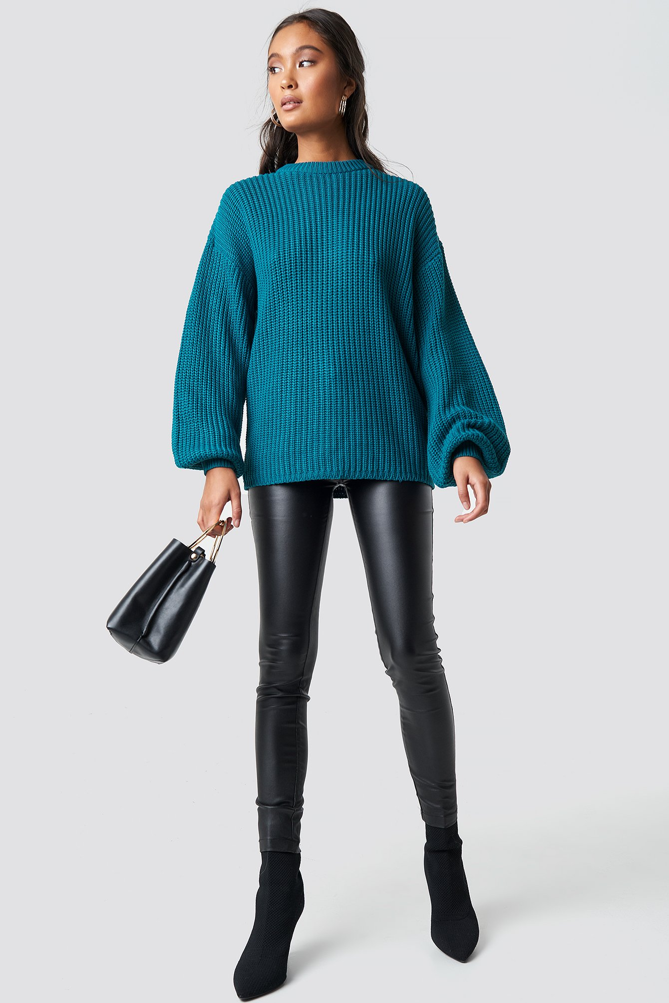 Dark Petrol Dropped Shoulder Knitted Sweater