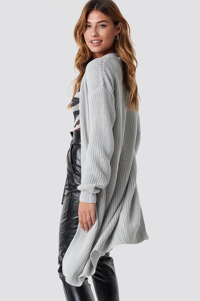 Dropped Shoulder Long Knit Light Grey