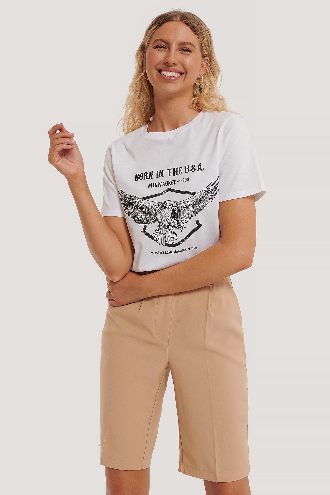 na-kd -  T-Shirt Mit Adleraufdruck - White