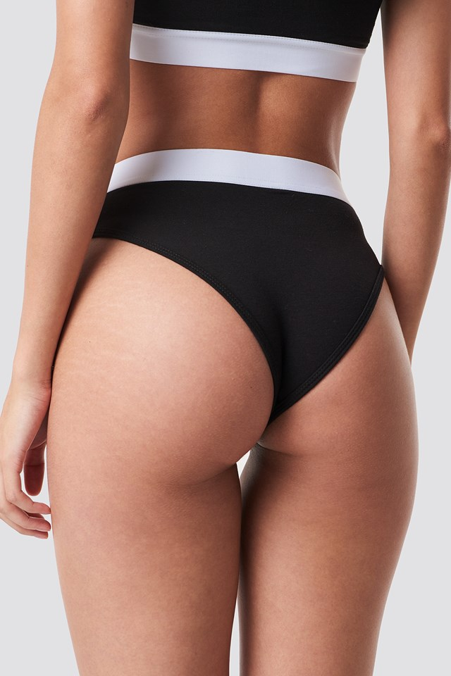 Elastic Cotton Brief Black