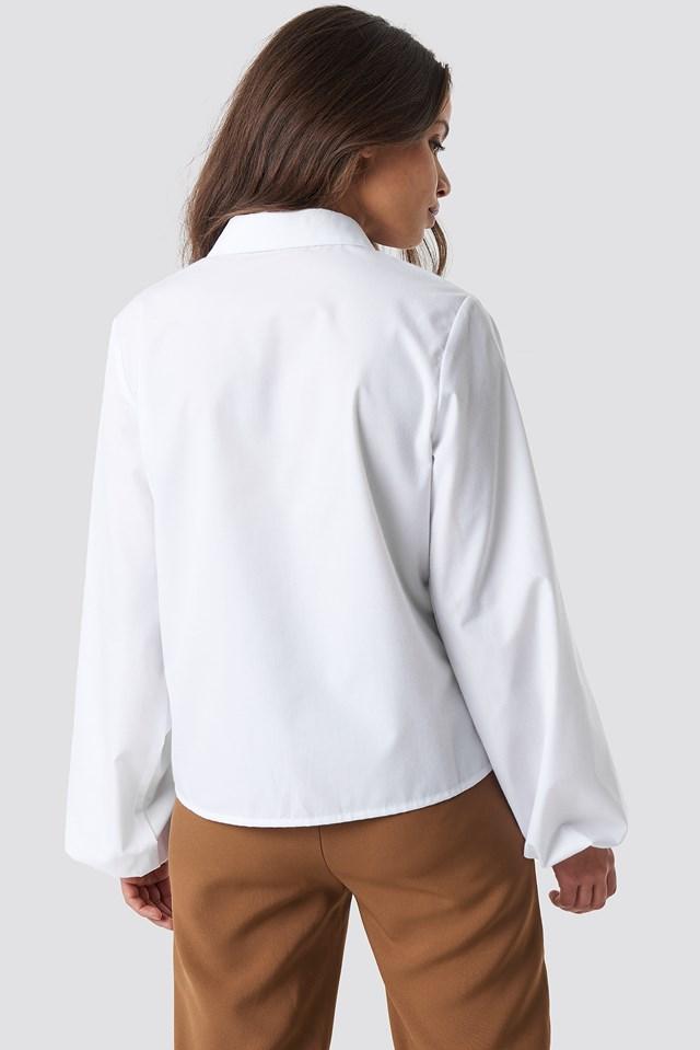 Elastic Cuff Balloon Sleeve Shirt White