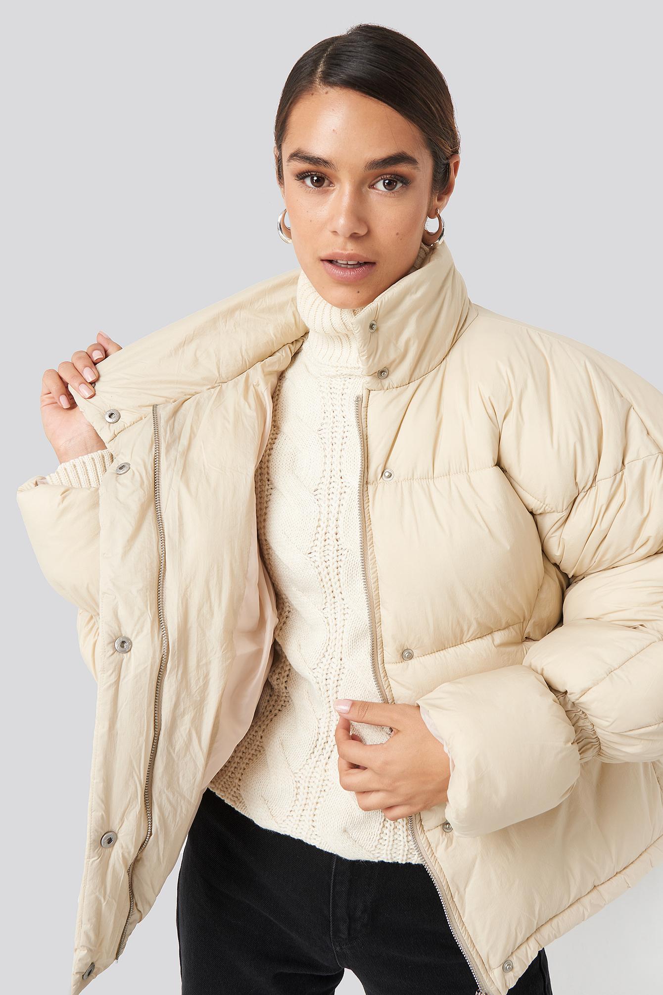 na-kd trend -  Elastic Detail Puffer Jacket - Beige