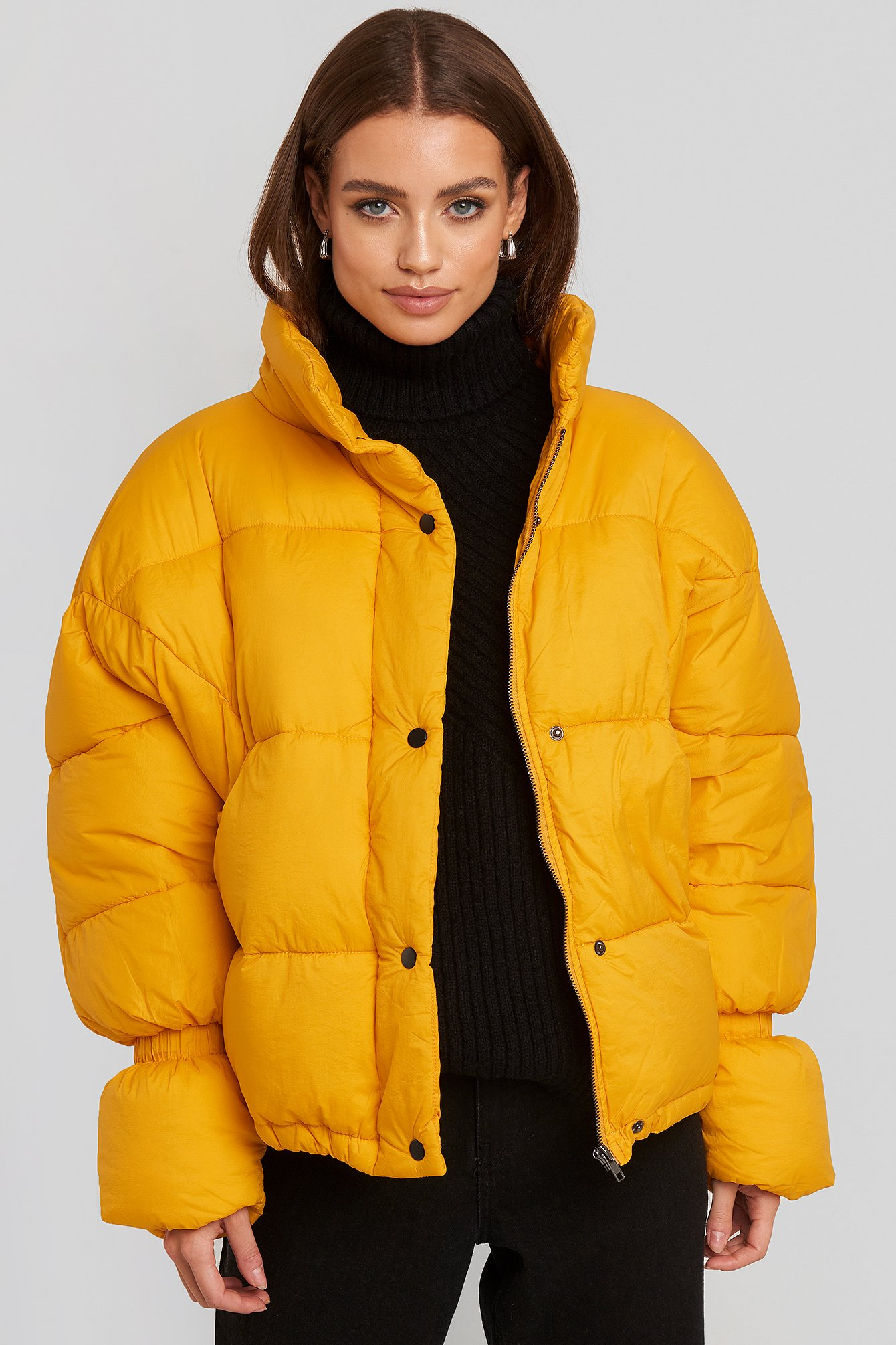 na-kd trend -  Elastic Detail Puffer Jacket - Yellow