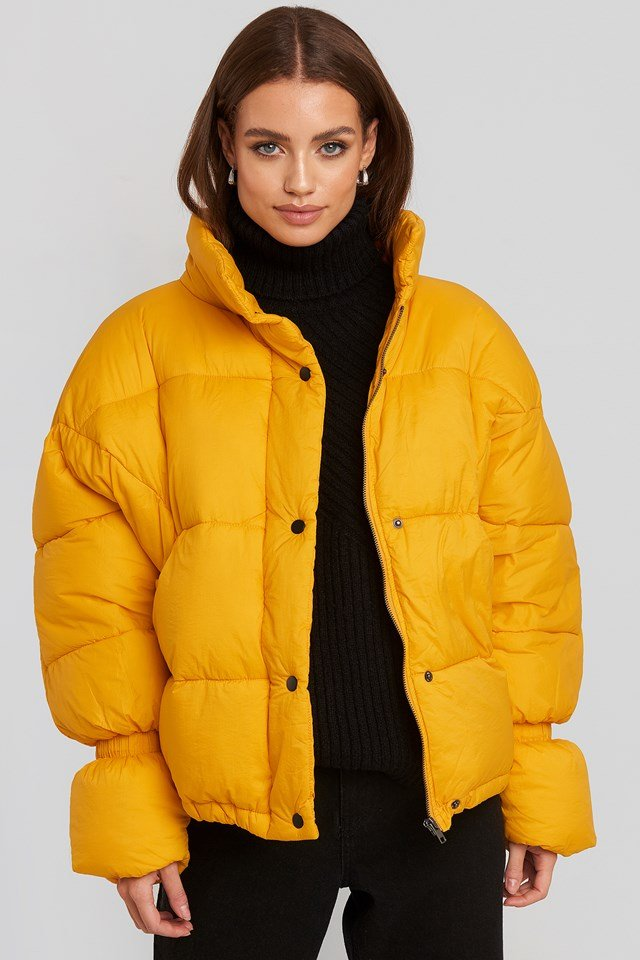 Elastic Detail Puffer Jacket Yellow