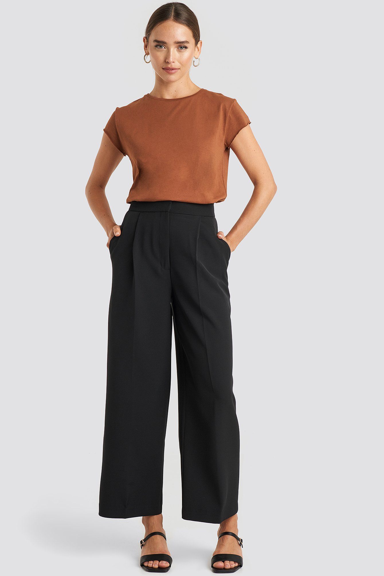 na-kd -  Elastic Detail Wide Pants - Black