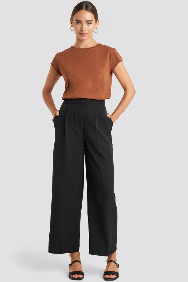 Elastic Detail Wide Pants Black
