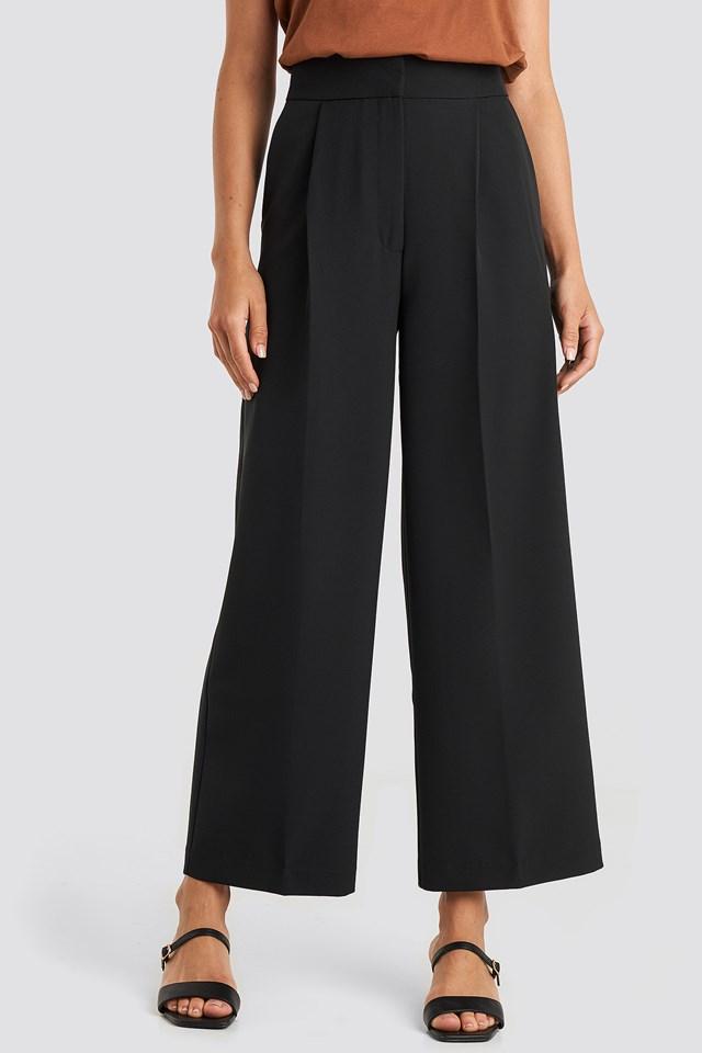 Elastic Detail Wide Pants Black
