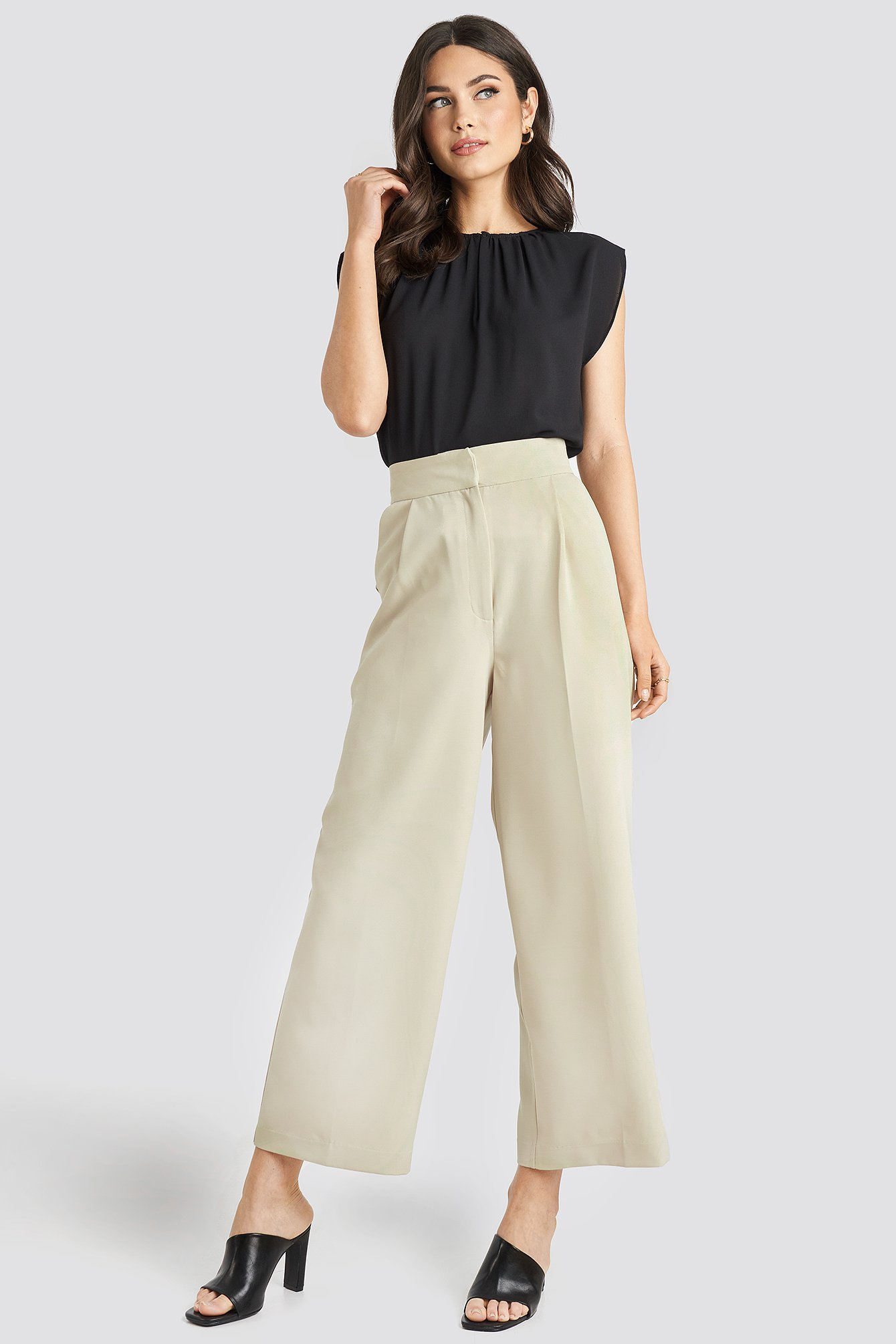 na-kd -  Elastic Detail Wide Pants - Beige