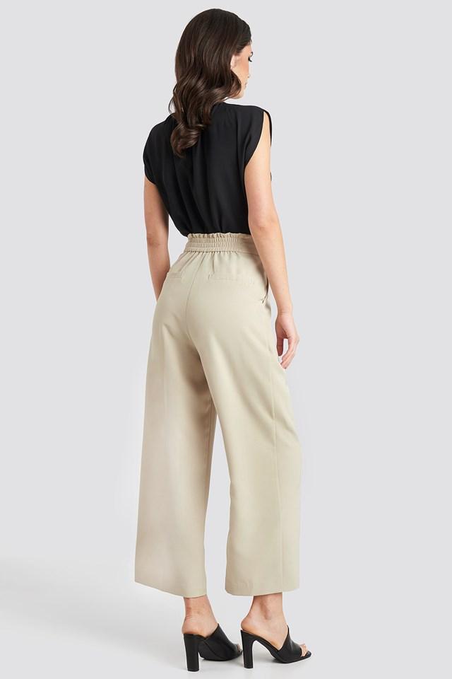 Elastic Detail Wide Pants Light Beige
