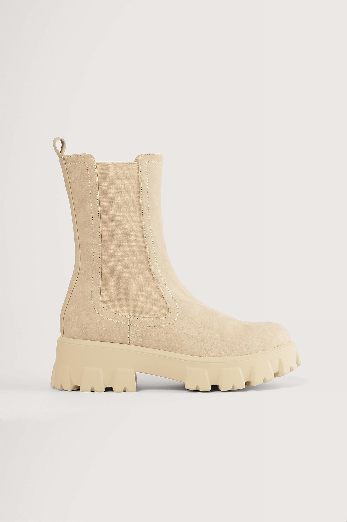 NA-KD Shoes Stövlar Med Elastiska Skaft - Beige