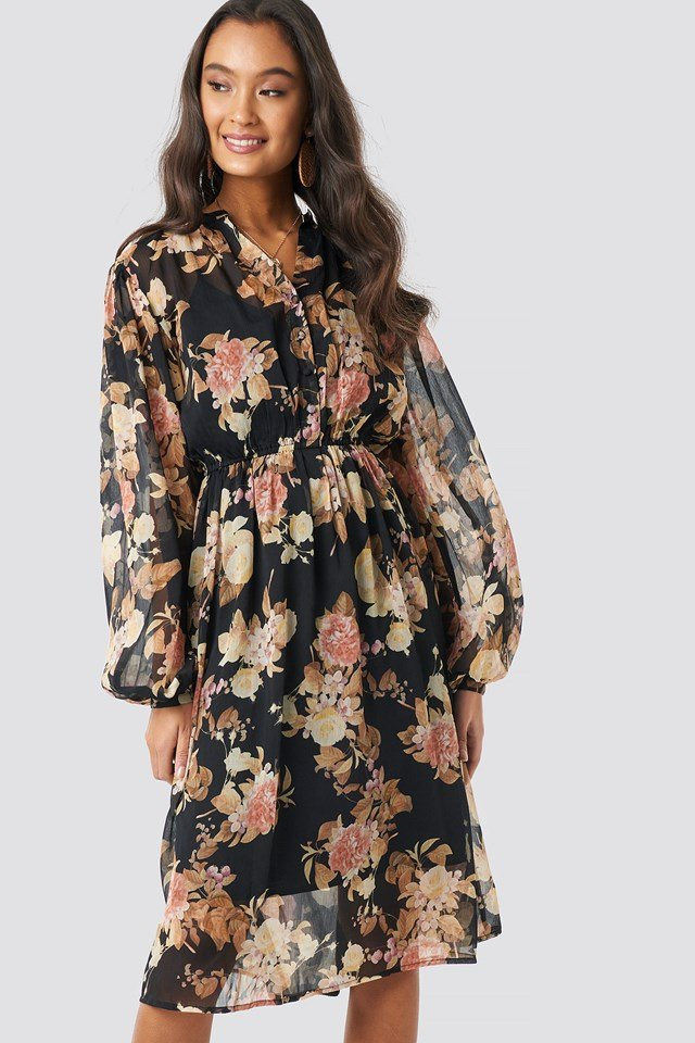 Elastic Waist Chiffon Midi Dress Black Flower Print