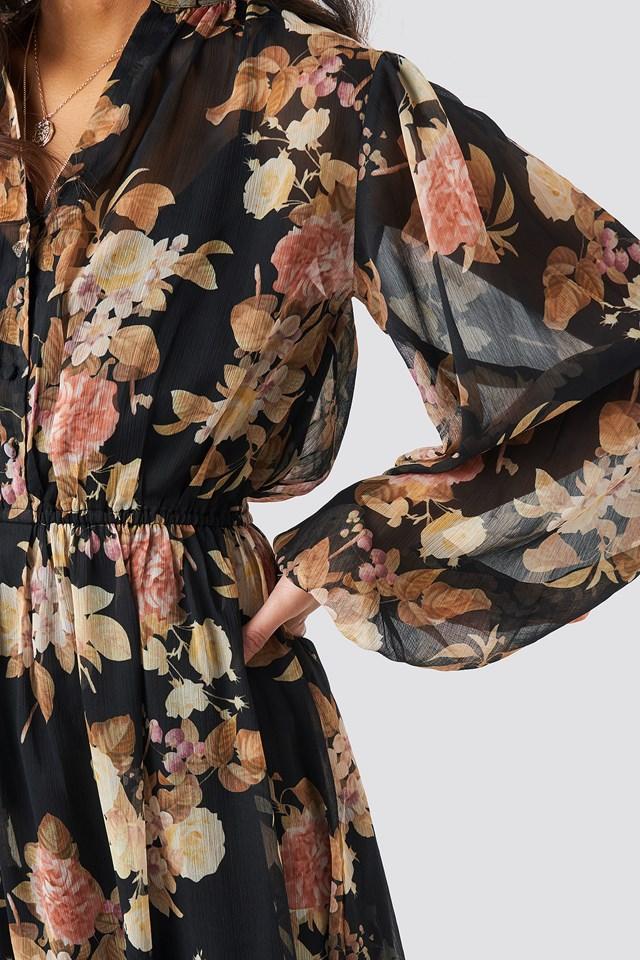 Elastic Waist Chiffon Midi Dress Black Flower Print