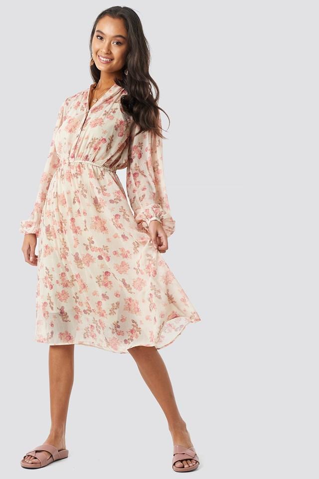 Elastic Waist Chiffon Midi Dress Soft Floral Pattern
