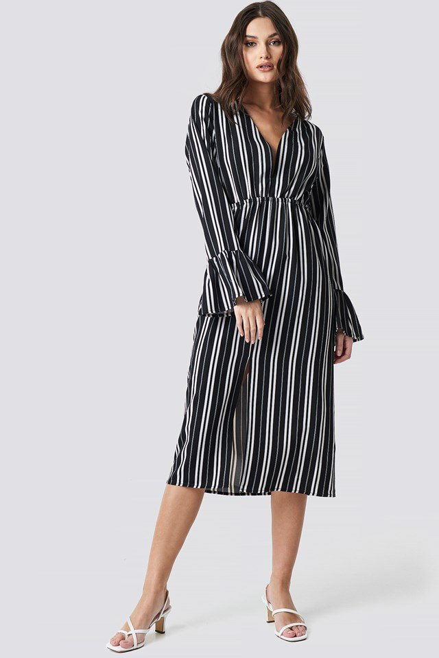 Elastic Waist Flute Sleeve Dress Black/White Stripe