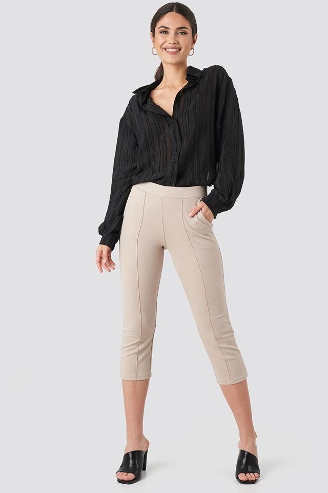 Elastic Waist Front Seam Pants Beige