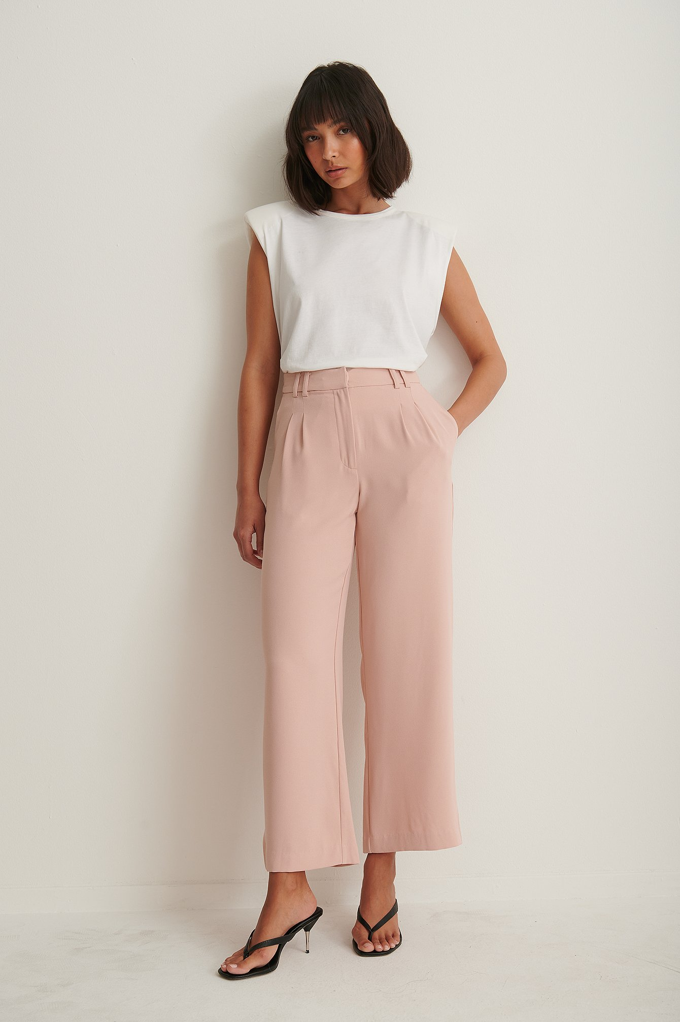 Pink Recycled Elastic Waist Loose Fit Pants