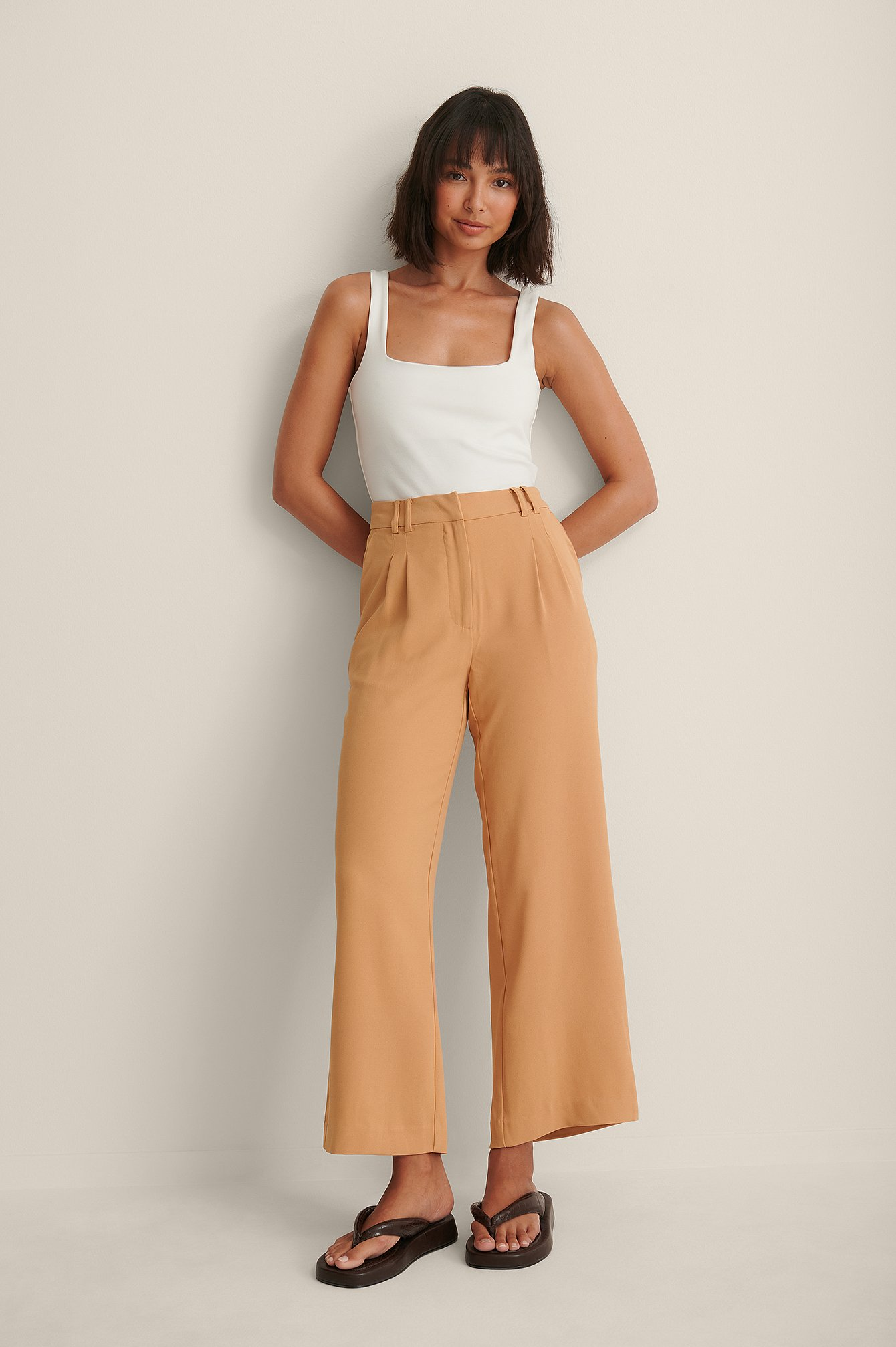 Sand Recycled Elastic Waist Loose Fit Pants