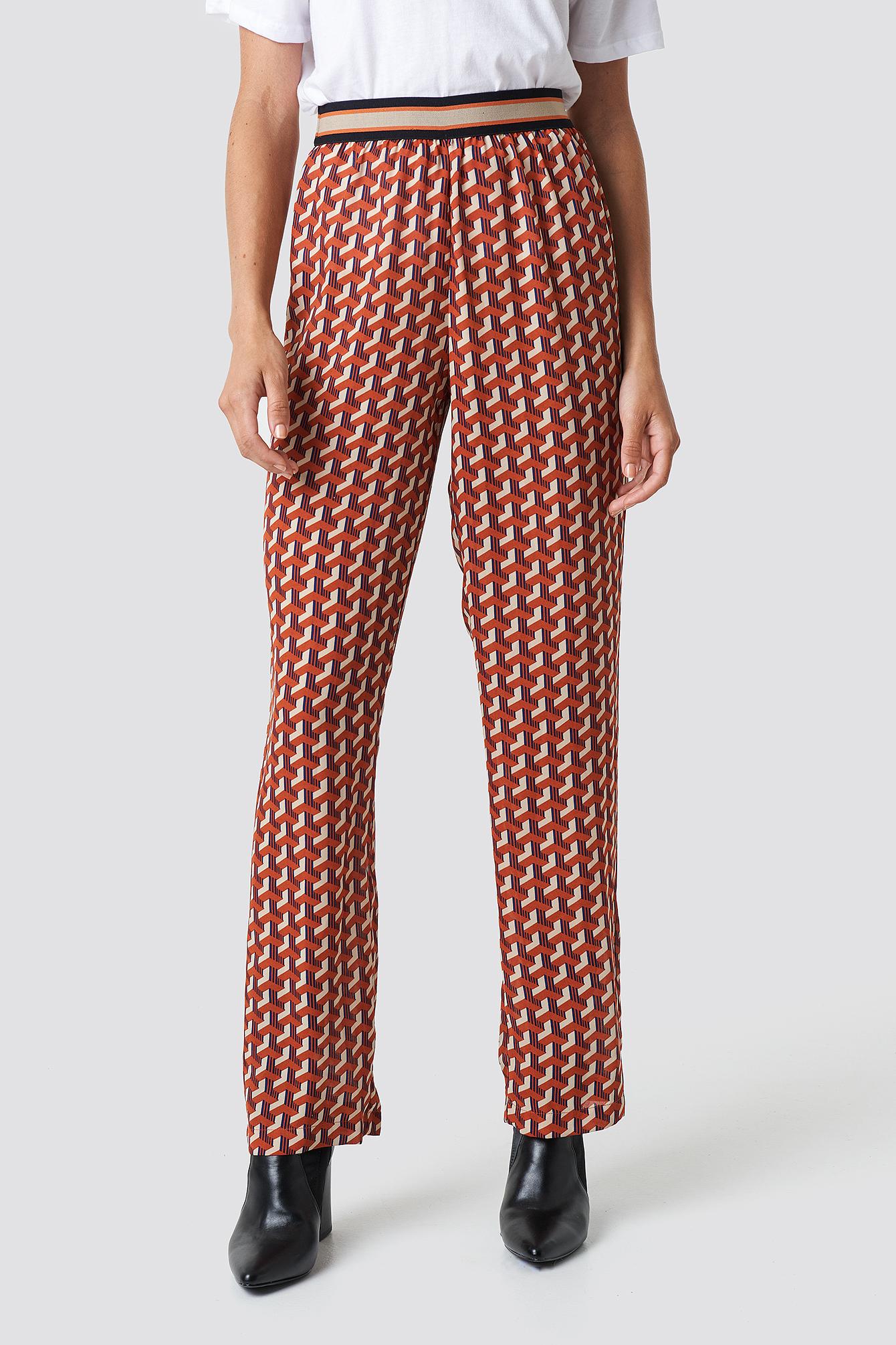 Elastic Waist Printed Pants NA-KD.COM
