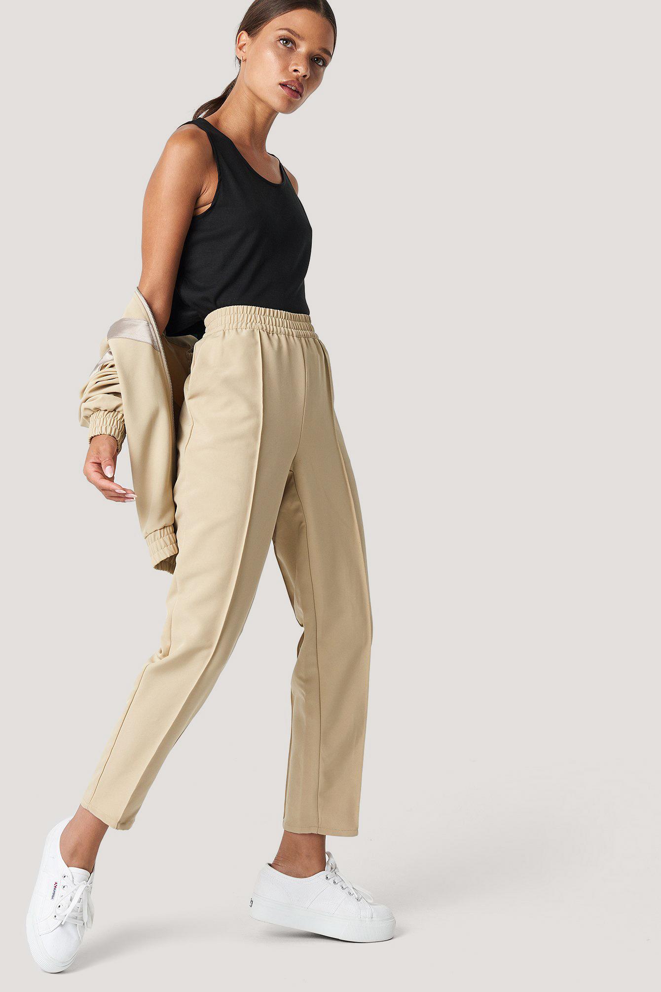 Elastic Waist Seamline Pants