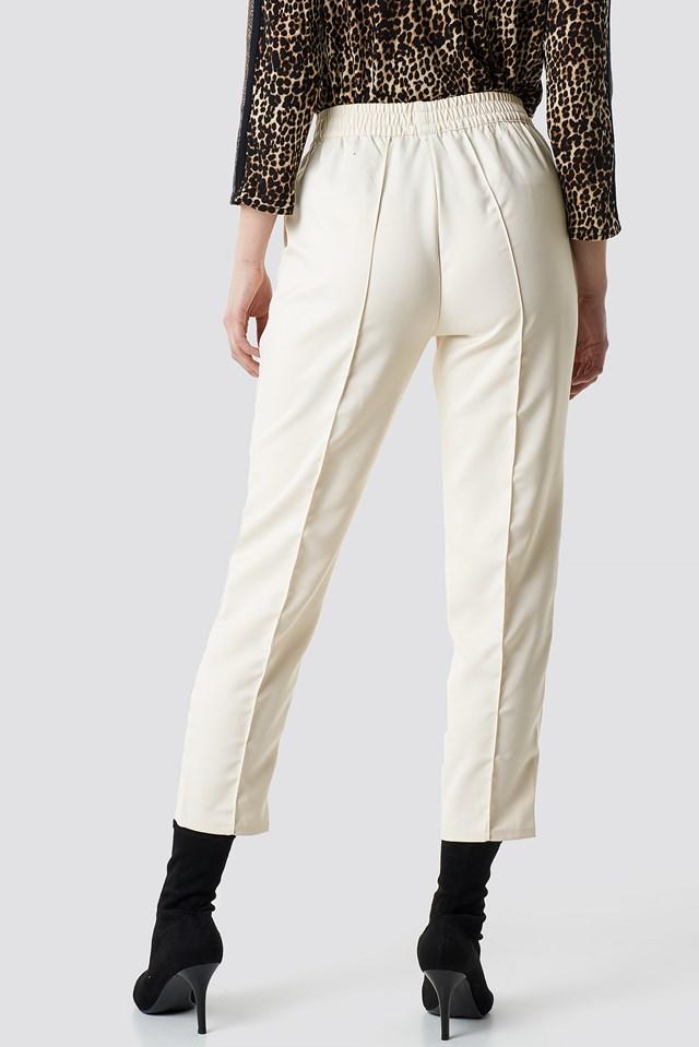 Elastic Waist Seamline Pants Off White