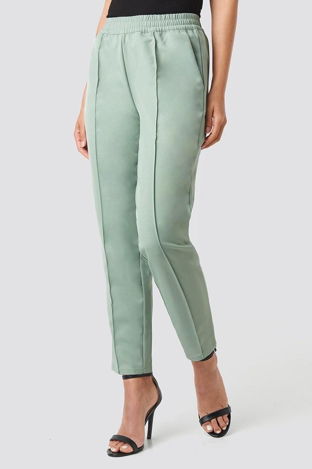 Elastic Waist Seamline Pants Dusty Green