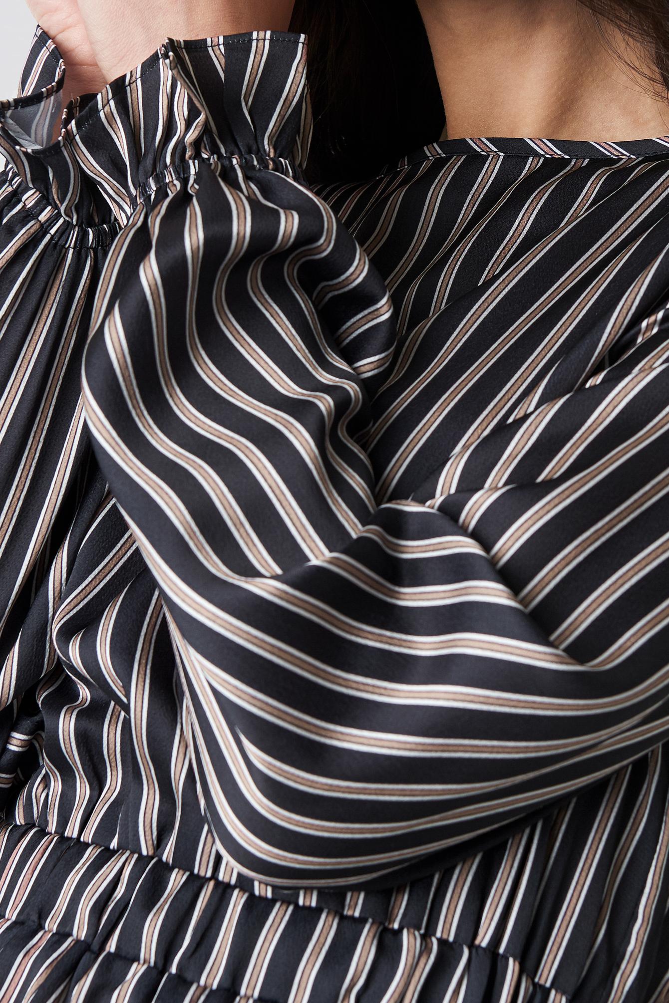 NA-KD Elastic Waist Striped Top - Multicolor