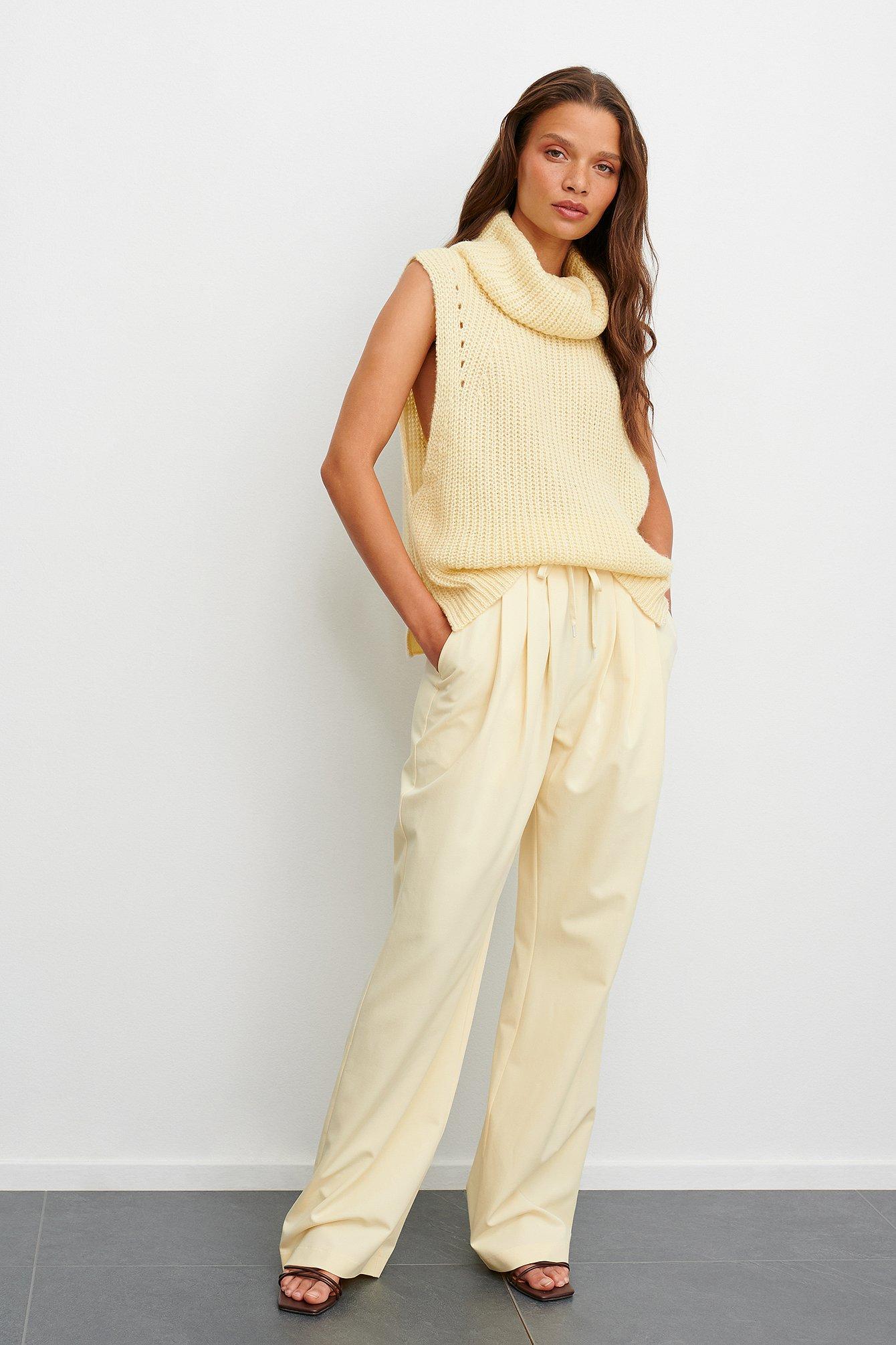 claire rose x na-kd -  Anzughose Mit Elastischer Taille - Offwhite