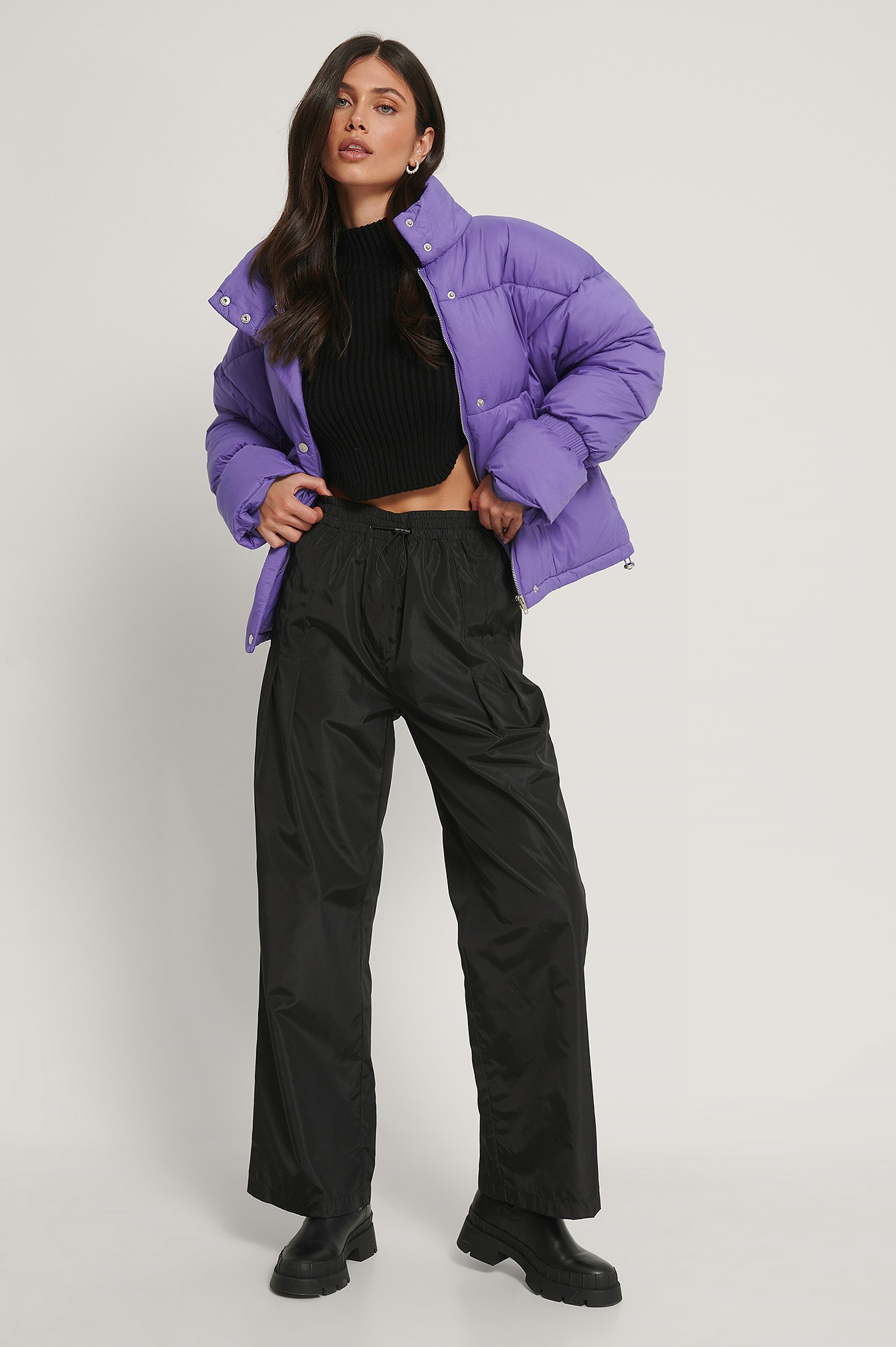 Strong Purple Elastic Detail Padded Jacket
