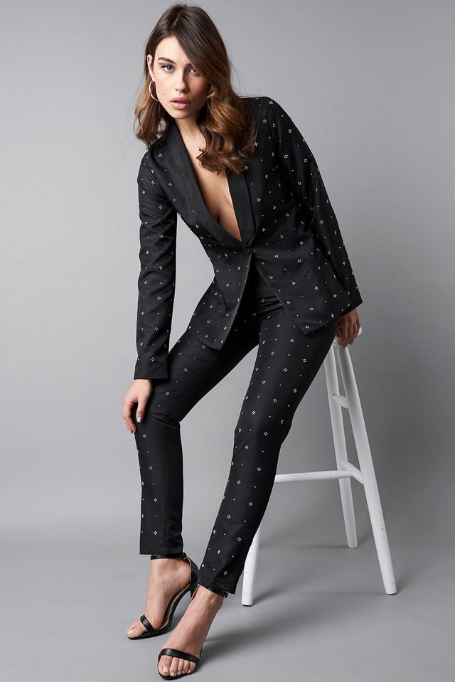 Embellished Blazer Black