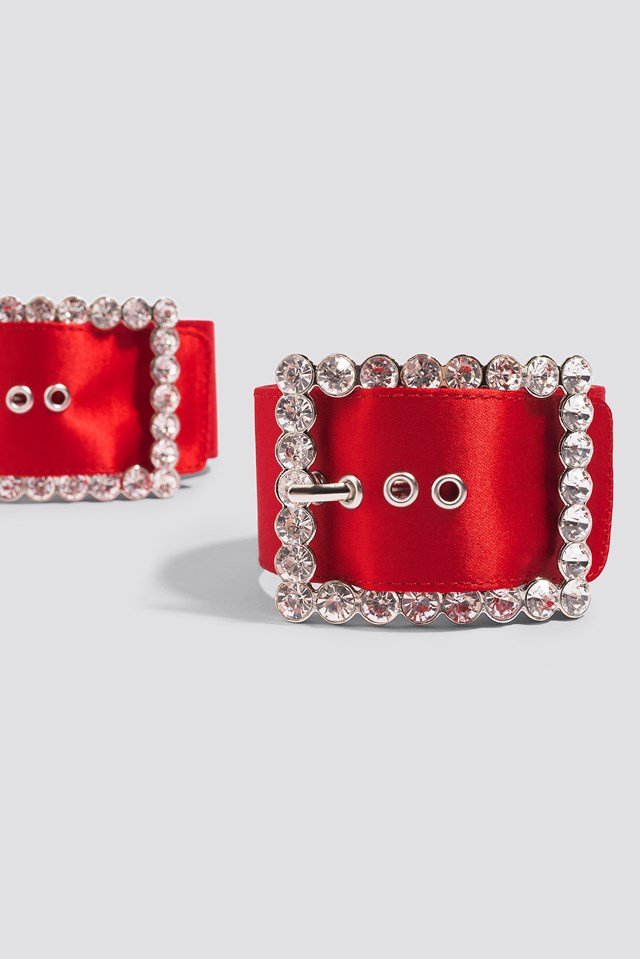Embellished Ankle Cuffs Red